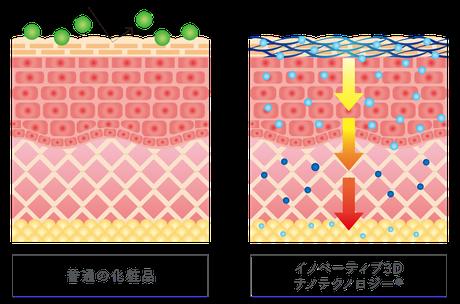 最先端の技術でエイジングケア成分を肌の深層まで届ける。